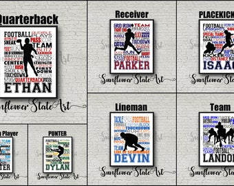 Football Gift for Him, Personalized, Football Print, Football Art, Football Team Gift, Football Coach Gift,  Custom, Typography