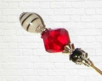 Hat Pin Red Victorian Edwardian Vintage Style Glass Antique 6 Inch Steampunk Stick Lapel Pin With Protector