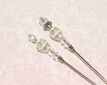 On Sale- Skull Hat Pin Set Of Two Victorian Silver Vintage Style Antique Inspired  6 Inch Steampunk Halloween Stick Lapel Pin With Protector