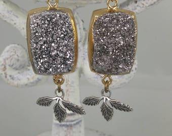 Beautiful handmade silver druzy earrings with Leaf Drop nem jewelry boho chic