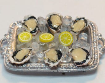 1:12 Oysters Tray dollhouse miniatures