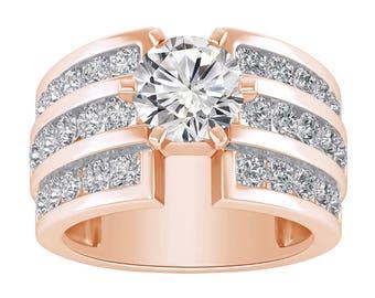 Rose Gold Engagement Ring Unique Diamond Engagement Ring, 2.50CT Diamond Wedding Ring In 14K