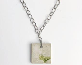 Concrete necklace- Yellow Flower