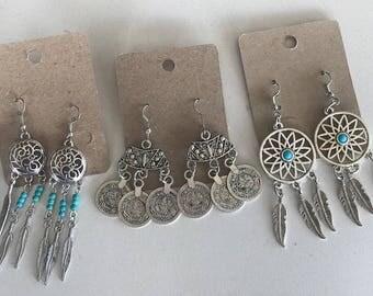 DREAMCATCHER Boho Silver Earrings
