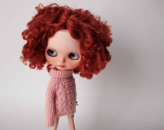 Blythe sweater Pink handknitted sweater for Blythe doll Knitted sweater for Blythe Pink doll outfit Blythe pink clothes Blythe pullover knit