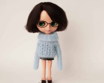 Blue Blythe outfit, Mohair doll sweater, Collestible doll clothes, 1:6 scale doll pullover, Handknitted blythe dress, Long sleeve jumper