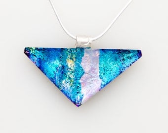 Pink & Blue Triangle Dichroic  Glass Necklace