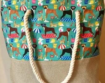 Boxer dog print beach bag