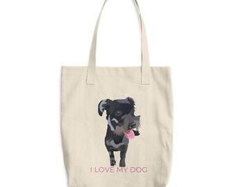 I Love My Dog Bag, Tote Bag, Canine Bag, Dog Lovers, Pink Bag, Dog Gift, Mini Schnauzer, Bag Art, Dog Art