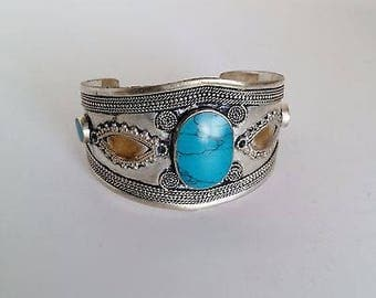 Tribal Style Belly Dance ATS Jewelry Bohemian Cuff Bracelet Turquoise Blue