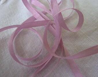 Pink silk ribbon plain 4 mm