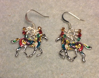 Fancy colorful enamel horse charm dangle earrings adorned with tiny dangling teal, red, and amber Chinese crystal beads.