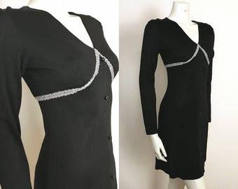 True Vintage Mod 60s GOGO Black Silver Glam Disco Mini Dress LBD - Size 8-10