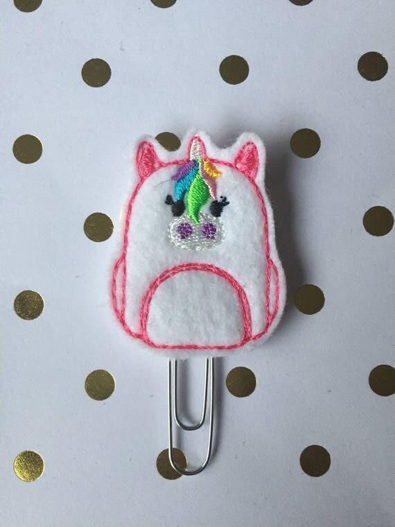 Unicorn Bookbag Clip/Planner Clip/Bookmark. Unicorn Planner Clip. Bookbag Planner Clip. School Planner Clip