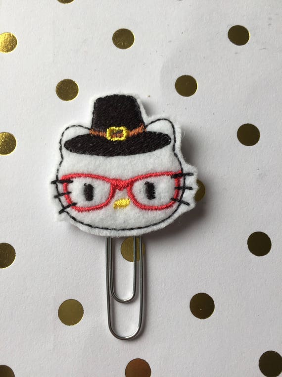 Geeky Pilgrim planner Clip/Planner Clip/Bookmark. Thanksgiving Planner Clip. Geeky Cat Planner Clip. Fall Planner Clip