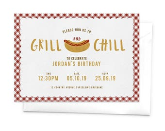 Grill and Chill Party Invitation / Cookout Party Invitation / BBQ Party Invitation / Barbecue Party Invitation / Hotdog Invitation