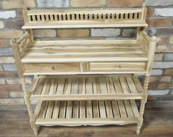 Teak Wood Shoe Rack (Bespoke Painted~Any Colour~Shabby Chic or Plain Painted)