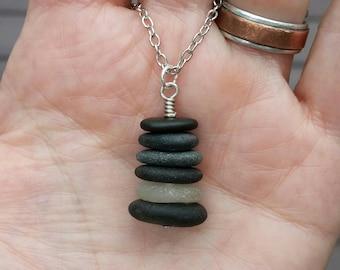 Beach rock Cairn necklace