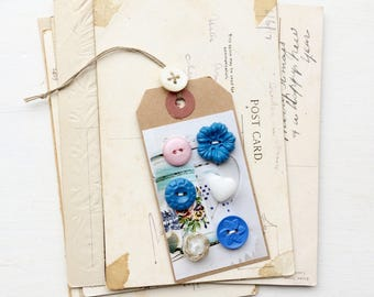 Pretty vintage button lot gift tag sewing supplies