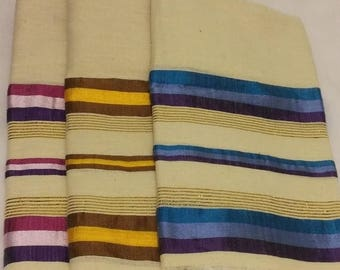 SUMMER BLOWOUT SALE...thru 07/15/17!...Women's 100% Handwoven Ethiopian Cotton Scarf with Bright Solid Color/White Stripes and Gold Accents