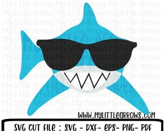 50% off - Shark with sunglasses svg - shark svg - boy shark svg -  summer svg - SVG, DXF, EPS, png Files for Cutting Machines Cameo or Cricu