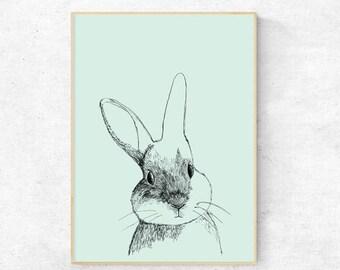 Rabbit illustration print - Digital Download