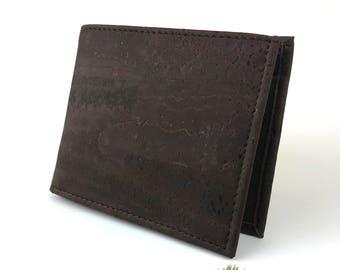 Trifold Cork Wallet For Men - Minimalist Vegan Wallet - Coins Pocket - Card Holder - Mens Slim Wallet - Vegan Men Gift - 8 Card Slots Brown