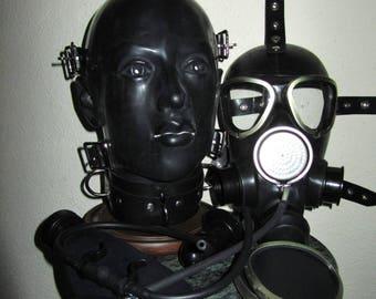Fetish Heavy Rubber System 3-in-1 BONDAGE HELMET Gas Mask Rebreather Latex HOOD w Collar, Gag, Blindfolds, Drinking Unit by Fantomas & Co.
