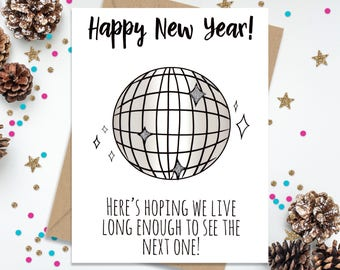New Years Cards, Funny New Years Card, New Years Gift, Funny Greeting Card, Christmas Cards, Holiday Cards, Funny Holiday Card