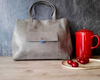 Leather bag handmade, gray leather bag, casual bag, leather handbag, womens leather bag, leather bag, medium purse  - ready to ship