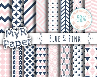 """Geometric Digital Paper Pack: """"Blue & Pink"""" geometric patterns for scrapbooking, invites, cards - printable - Backgrounds"""
