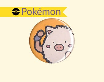 Primeape Badge - kawaii Pokemon, Primeape button, Primeape pin, Pokemon badge, Pokemon button, chibi Primeape, kawaii Primeape