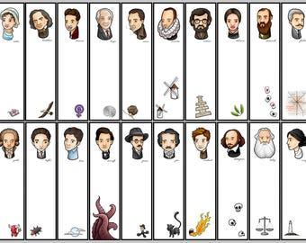 literary bookmark, author bookmark, literary gift, Poe, Austen, Lovecraft, Shakespeare, Woolf, Cervantes, Cortázar, Kafka, gift for reader