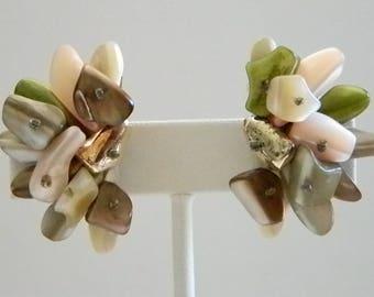 Pink Green Brown Cluster Clip Earrings - Japan