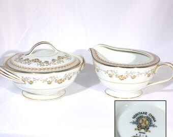 Noritake China, Shelburne 5316, Cream and Sugar, Vintage 1950s, Mid Century Gold Brown, Green Grey