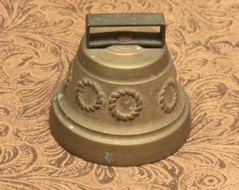 Embossed Brass Cow Bell / France