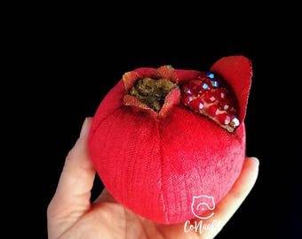 Pomegranate, sewn, embroidered with beads