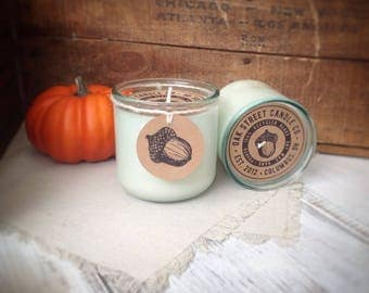 MULLED CIDER + CHESTNUTS scented soy candle, Fall scented soy candle, Oak Street Candle Co., hand poured, recycled glass tumbler