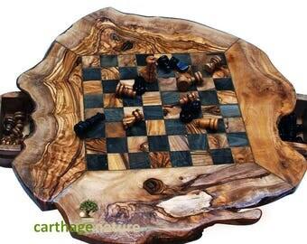 Cadeau anniversaire, cadeau famille, ÉCHIQIER, Jeu d'échecs rustique en BOIS D'OLIVIER 30 cm, Cadeau original pas cher, décoration maison