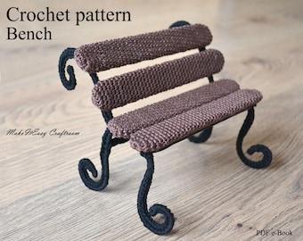 Bench crochet pattern Crochet bench Dollhouse display bench Miniature crochet bench Fairy garden bench Wire bench Digital download