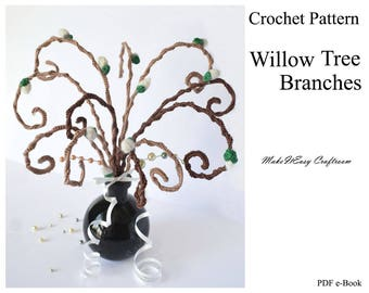 Willow tree crochet pattern Crochet willow branch Easter egg tree Willow tree decorative branches Curly willow tree Digital download