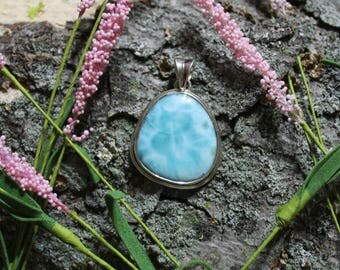 Natural Larimar sterling silver pendant from Dominican Republic healing reiki energy SOLAR ECLIPSE CHARGED (On Sale)