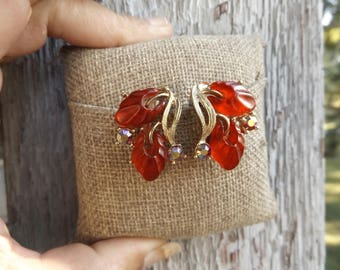 Red Jelly AB Rhinestone Costume Jewelry Clip On Earrings