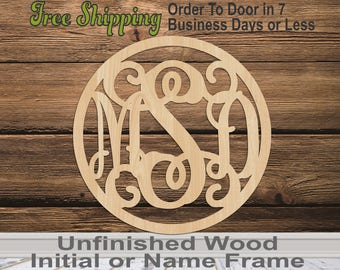 Thin wood letter etsy 3 letter monogram in thin circle frame personalized cutout 3 letter monogram spiritdancerdesigns Gallery