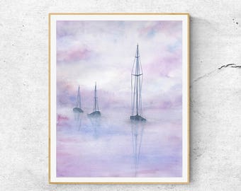 Watercolor Boat Painting, Watercolor Painting Print, Watercolor Tall Ships Painting, Watercolor Prints, Ocean Print, Seascape Painting