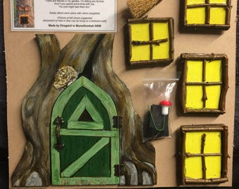 Fairy tree set of opening door and 4 x windows
