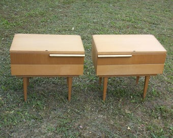 Pair Of Mid-Century Modern Nightstands, Pair Nightstands, retro furniture, vintage furniture, GERMANY Nightstands, cool home decor
