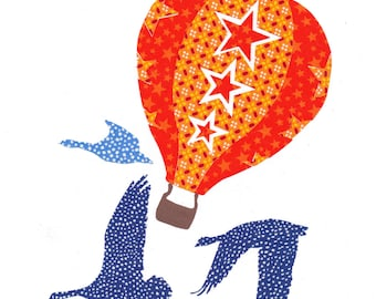 """Large applied fusible """"Balloon"""" Star fabric and cotton Poplin"""