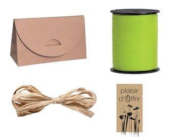 Kit pouch fancy kraft + label and bolduc lot 4 pieces