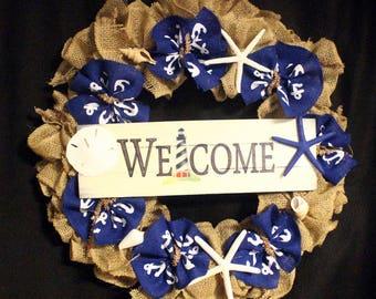 Nautical Welcome Door Wreath, Lighthouse Burlap Door Wreath, Seashell Coastal Door Wreath